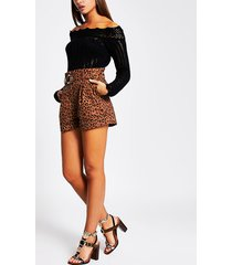 river island womens brown leopard print belted shorts