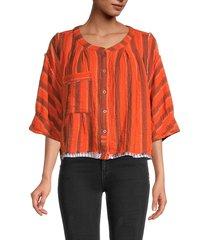 free people women's wtf lisbon yarn-dyed striped top - orange - size xl
