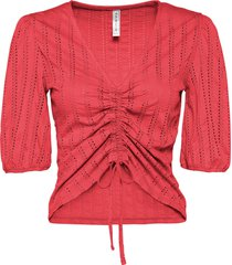 maglia con maniche a palloncino e allacciatura (rosso) - rainbow