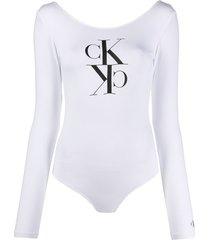 calvin klein jeans logo long-sleeve bodysuit - white