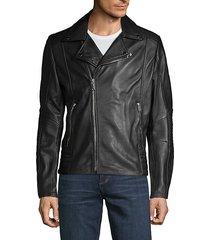 full-zip leather moto jacket
