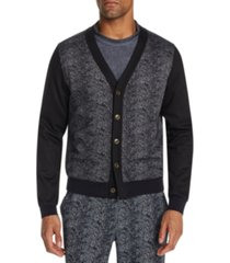 tallia men's slim-fit stretch snake skin print cardigan