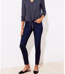 loft tall snap hem skinny jeans in original mid indigo wash