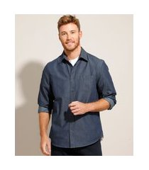 camisa comfort jeans com bolso manga longa azul escuro