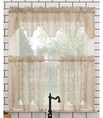 "no. 918 alison floral lace rod pocket kitchen curtain valance and tiers set, 58"" x 24"""
