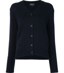 a.p.c. ama v-neck cardigan - blue