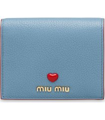 miu miu madras leather wallet - blue