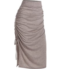 ruched slit side drawstring skirt