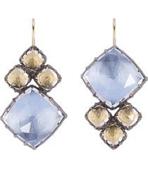 white quartz blue and yellow sadie cluster earrings