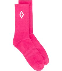 marcelo burlon county of milan cross logo socks - pink