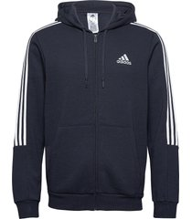essentials fleece cut 3-stripes track jacket hoodie trui blauw adidas performance