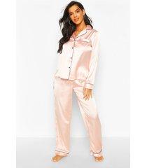 mix en match satijnen pyjamabroek, roségoud