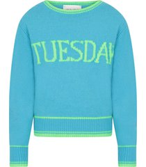 alberta ferretti light blue girl sweater with neon green writing
