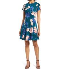 women's eliza j floral scuba crepe a-line dress, size 16 - green