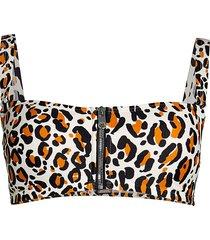 dkny women's leopard zip-front bikini top - golden oak - size xs