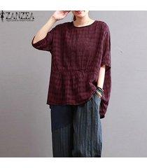 zanzea mujeres más el tamaño de la llamarada peplum suelta a cuadros camiseta superior túnica de la blusa -rojo