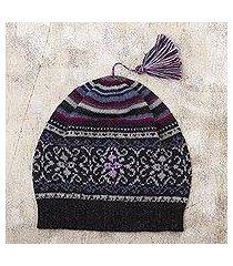 100% alpaca knit hat, 'sierra charcoal' (peru)