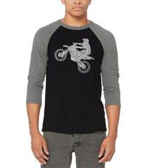 men's freestyle motocross - fmx raglan baseball word art t-shirt
