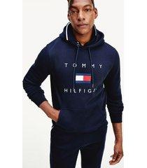 tommy hilfiger men's signature flag hoodie desert sky - xxl