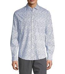 saks fifth avenue men's long-sleeve printed shirt - white - size xxl