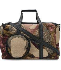 off-white tapestry duffle bag - black