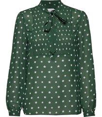 prt pintuck bib blou blouse lange mouwen groen calvin klein