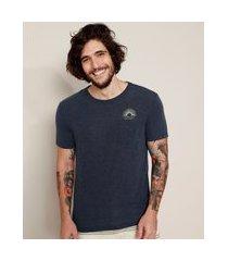 """camiseta masculina sunrise"""" com linho e bolso manga curta gola careca azul marinho"""""""