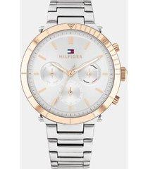 tommy hilfiger women's stainless steel sub-dials bracelet watch silver/ multi -