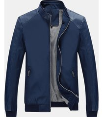mens casual sottile giacca in pelle di colore solido antivento caldo
