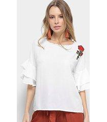 blusa aidi babado bordado feminina
