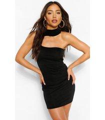 asymmetrische uitgesneden strakke mini jurk met textuur, zwart