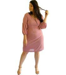 vestido acanalado con manga tipo globo rosado plica