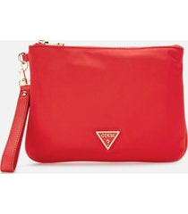 guess women's did i say 90s? flat top zip pouch - red