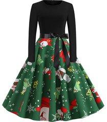 christmas santa claus snowman belted long sleeve dress