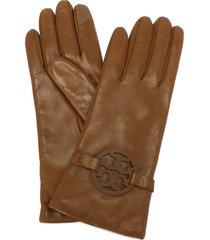 women's tory burch miller t-logo leather gloves, size 6.5 - beige