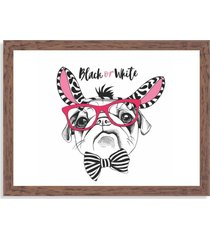 quadro decorativo black or white pug madeira - grande