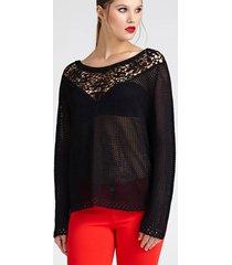 sweter z krepowymi wstawkami