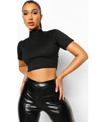 backless puff sleeve top, black