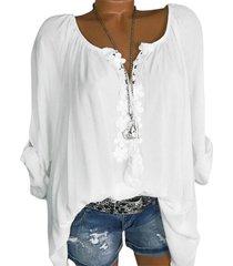 lace applique tie tassel raglan sleeve blouse