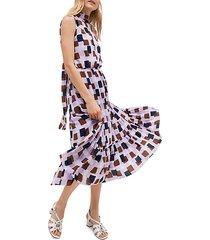geometric flounce midi dress