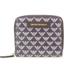 emporio armani monogram small blue beige wallet