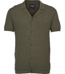 anf mens sweaters kortärmad skjorta grön abercrombie & fitch