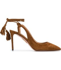 aquazzura 90mm ankle-tie pumps - brown