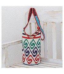 cotton bucket bag, 'colorful waves' (guatemala)