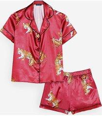womens drive me wild tiger pajama shorts set - berry