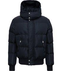 alexander mcqueen black nylon down jacket with logo print