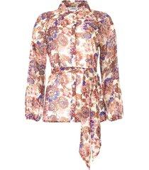 transparante blouse met print bea  paars