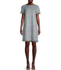 st. john women's tweed shift dress - blue multi - size 2