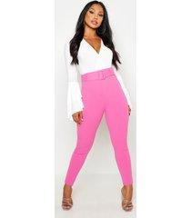 stretch cigarette-broek met hoge taille en ceintuur, roze