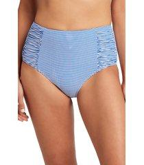 sea level high waist stripe bikini bottoms, size 4 us in azure at nordstrom
